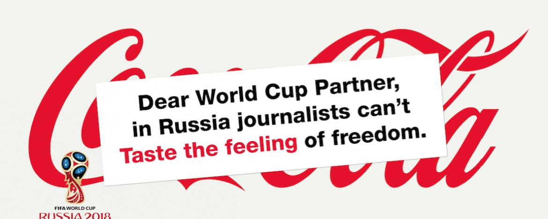 """Le message de RSF aux sponsors de Russie 2018 : """"Ne laissez pas les exactions contre les journalistes ternir votre marque"""""""