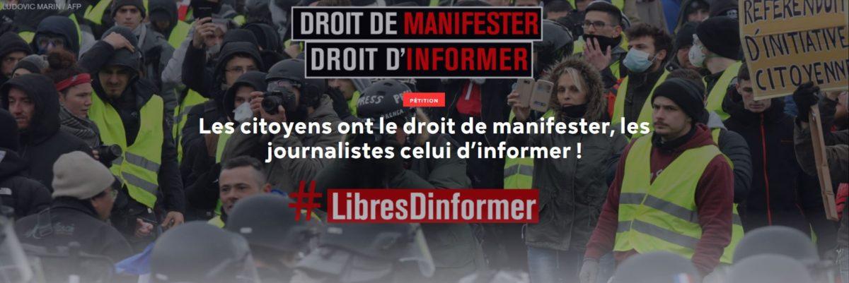 France: Les citoyens ont le droit de manifester, les journalistes celui d'informer !