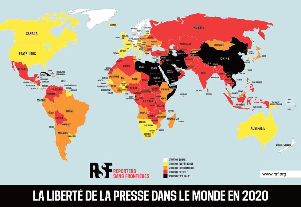 Classement mondial de la liberté de la presse 2020 : la décennie à venir sera décisive pour le journalisme