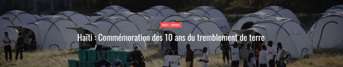Haïti : Commémoration des 10 ans du tremblement de terre