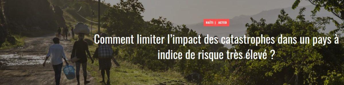 Comment limiter l'impact des catastrophes dans un pays à indice de risque très élevé ?